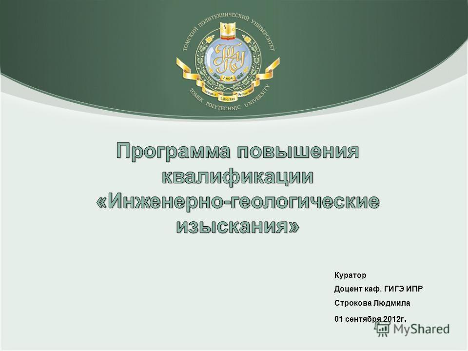 Куратор Доцент каф. ГИГЭ ИПР Строкова Людмила 01 сентября 2012г.
