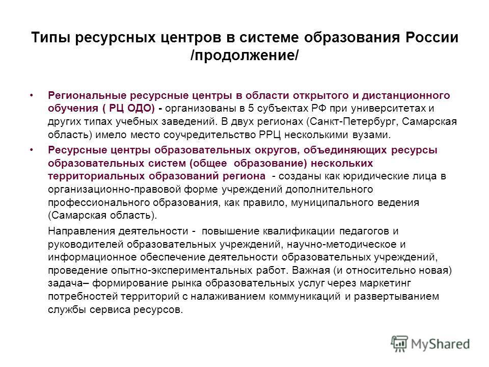 Типы ресурсных центров в системе образования России /продолжение/ Региональные ресурсные центры в области открытого и дистанционного обучения ( РЦ ОДО) - организованы в 5 субъектах РФ при университетах и других типах учебных заведений. В двух региона