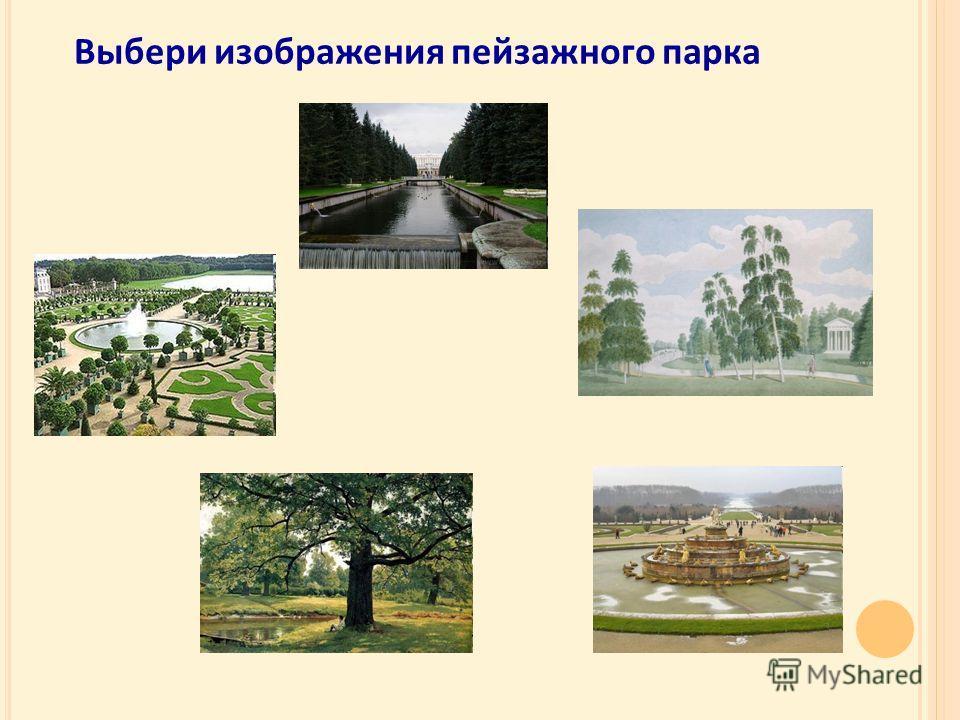Выбери изображения пейзажного парка
