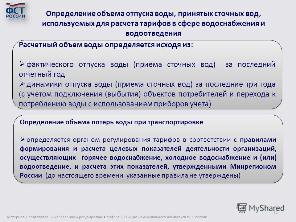 Определение объема отпуска воды, принятых сточных вод, используемых для расчета тарифов в сфере водоснабжения и водоотведения Материалы подготовлены Управлением регулирования в сфере жилищно-коммунального комплекса ФСТ России 10 Расчетный объем воды