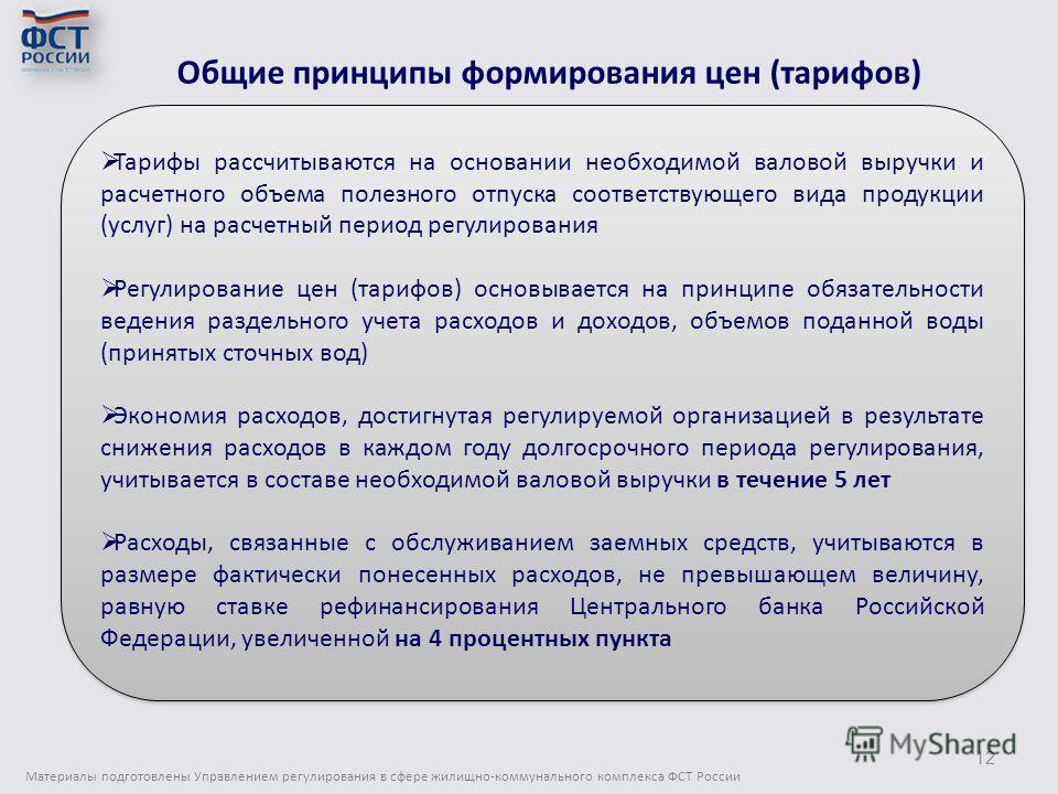 Общие принципы формирования цен (тарифов) Материалы подготовлены Управлением регулирования в сфере жилищно-коммунального комплекса ФСТ России 12 Тарифы рассчитываются на основании необходимой валовой выручки и расчетного объема полезного отпуска соот