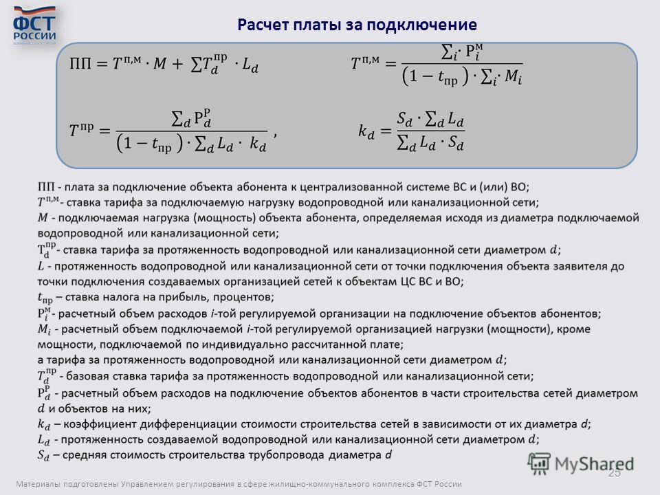 Материалы подготовлены Управлением регулирования в сфере жилищно-коммунального комплекса ФСТ России 25 Расчет платы за подключение