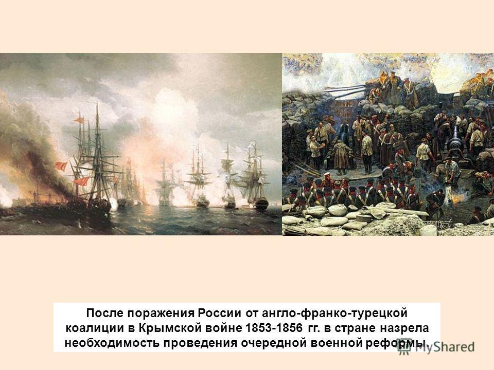 После поражения России от англо-франко-турецкой коалиции в Крымской войне 1853-1856 гг. в стране назрела необходимость проведения очередной военной реформы.
