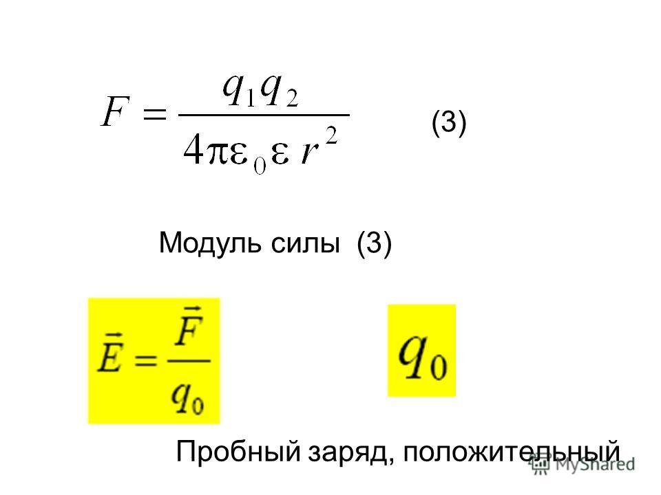 Модуль силы (3) (3) Пробный заряд, положительный