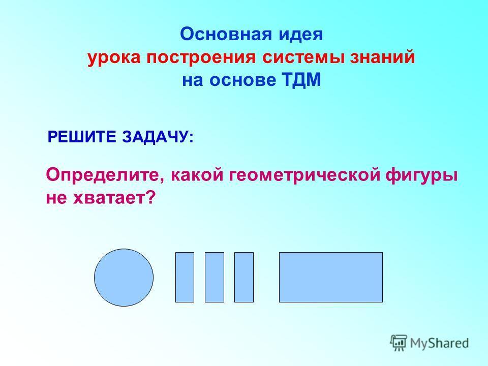 РЕШИТЕ ЗАДАЧУ: Определите, какой геометрической фигуры не хватает? Основная идея урока построения системы знаний на основе ТДМ