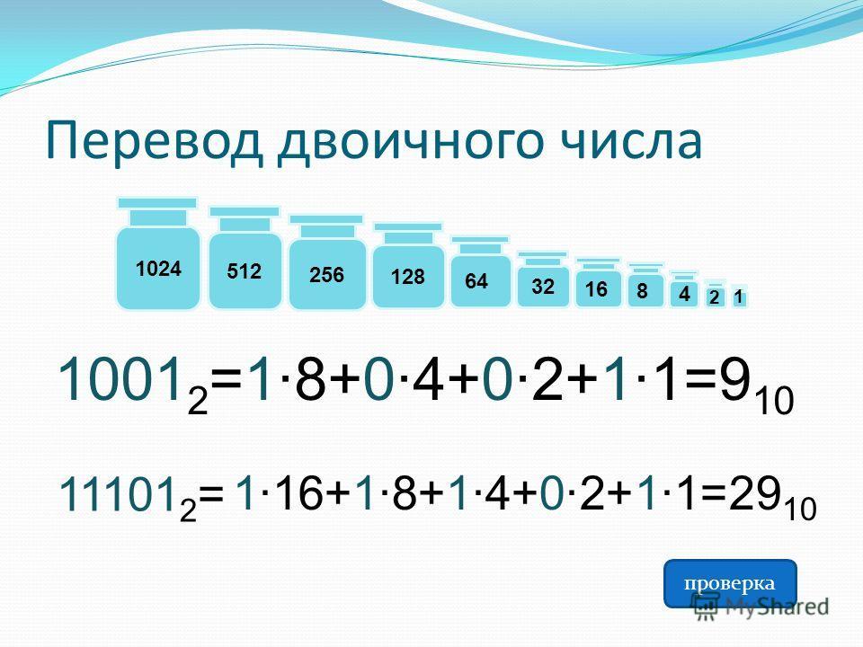 Перевод двоичного числа 1001 2 =1·8+0·4+0·2+1·1=9 10 128 64 32 8 4 2 512 256 16 1 1024 11101 2 = 1·16+1·8+1·4+0·2+1·1=29 10 проверка