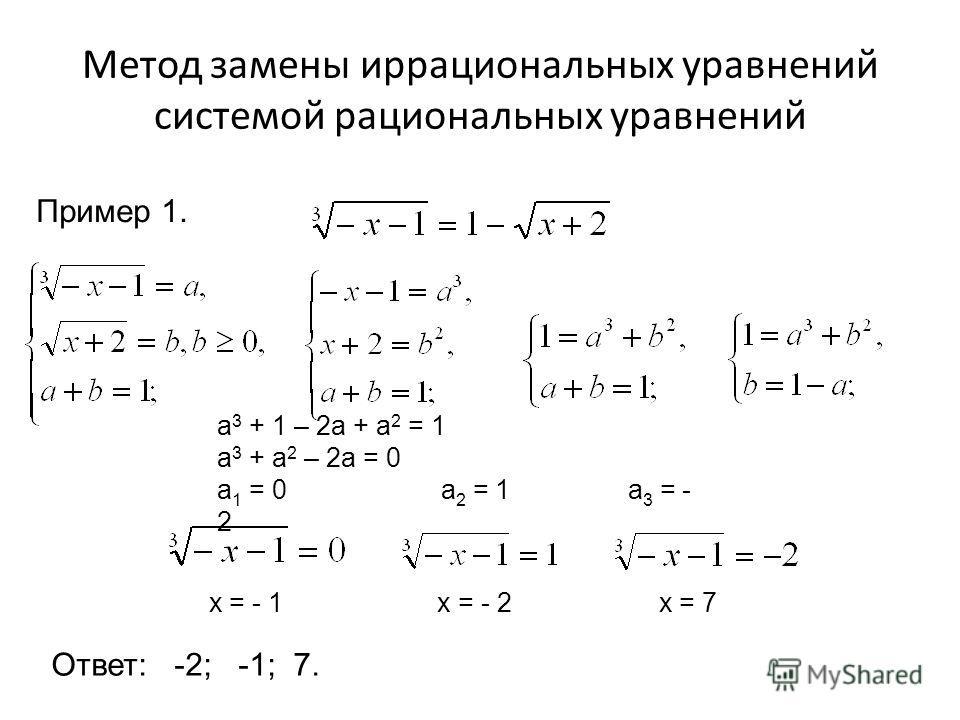 Метод замены иррациональных уравнений системой рациональных уравнений Пример 1. a 3 + 1 – 2a + a 2 = 1 a 3 + a 2 – 2a = 0 a 1 = 0 a 2 = 1 a 3 = - 2 х = - 1 х = - 2 х = 7 Ответ: -2; -1; 7.