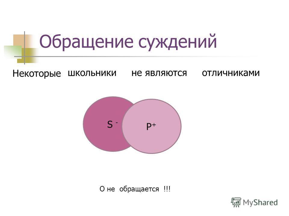 Обращение суждений школьникиотличниками Некоторые не являются О не обращается !!! S - P+P+