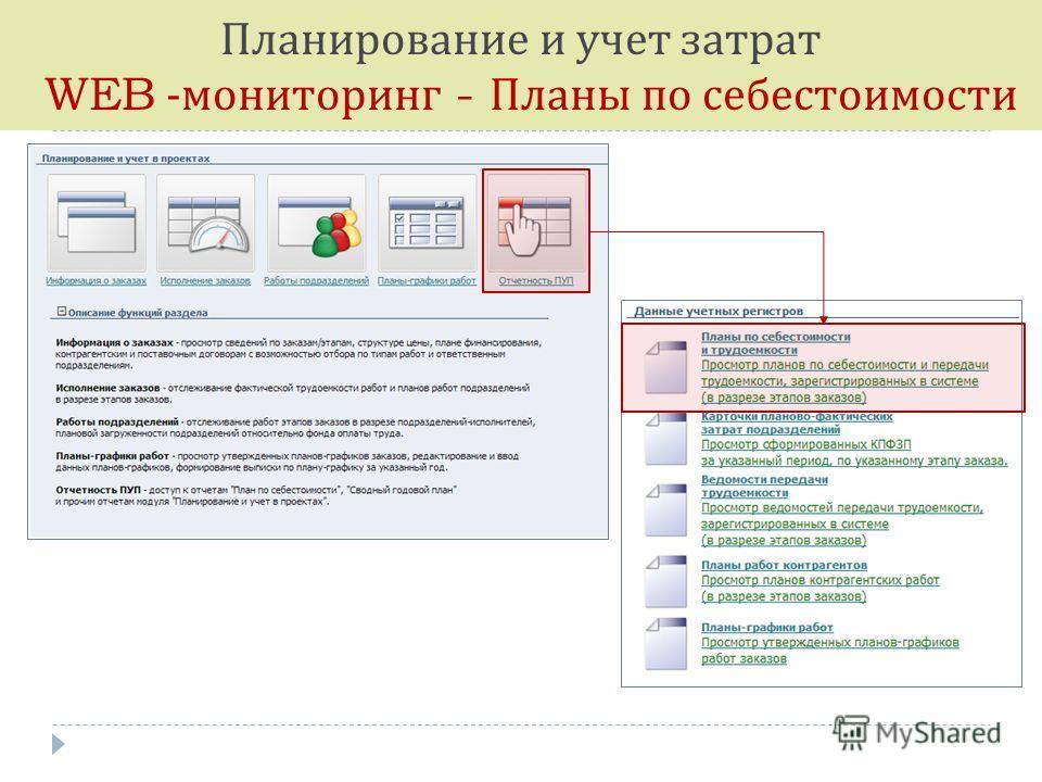Планирование и учет затрат WEB - мониторинг - Планы по себестоимости