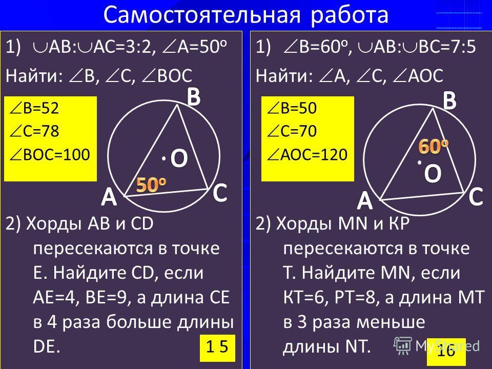 Самостоятельная работа 1) АВ: АС=3:2, А=50 о Найти: В, С, ВОС 2) Хорды АВ и CD пересекаются в точке Е. Найдите CD, если АЕ=4, ВЕ=9, а длина СЕ в 4 раза больше длины DЕ. 1) В=60 о, АВ: ВС=7:5 Найти: А, С, АОС 2) Хорды MN и КР пересекаются в точке Т. Н