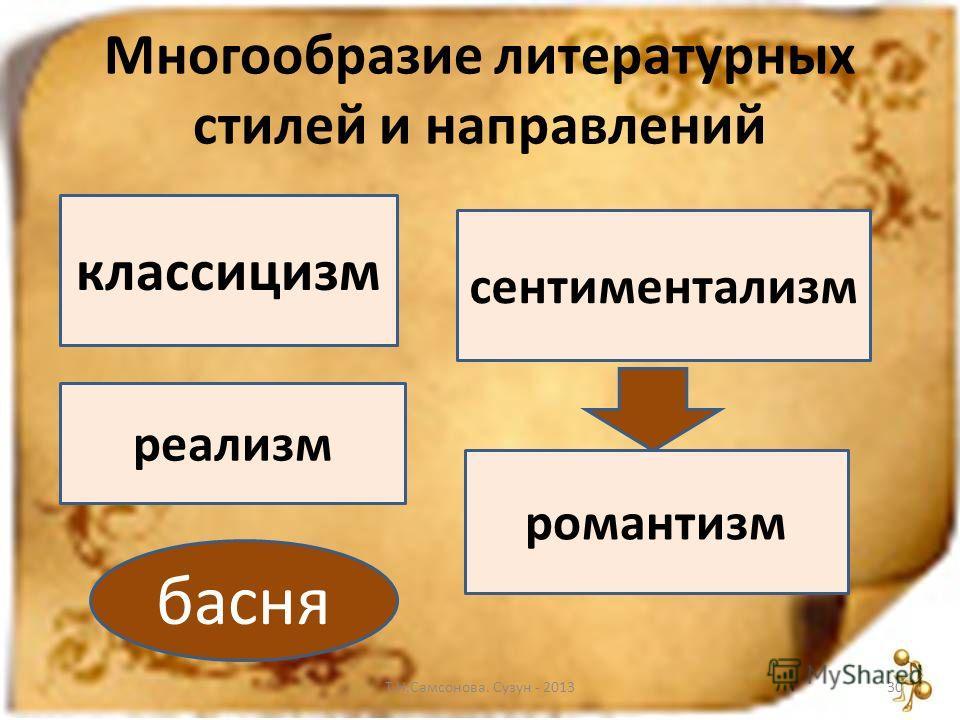 Многообразие литературных стилей и направлений Т.Н.Самсонова. Сузун - 201330 классицизм сентиментализм романтизм реализм басня