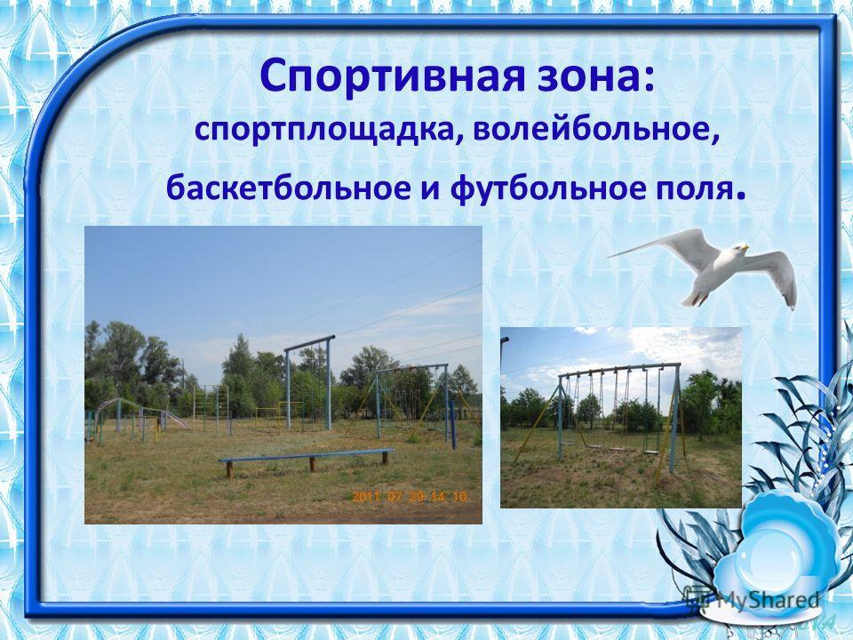 Спортивная зона: спортплощадка, волейбольное, баскетбольное и футбольное поля.