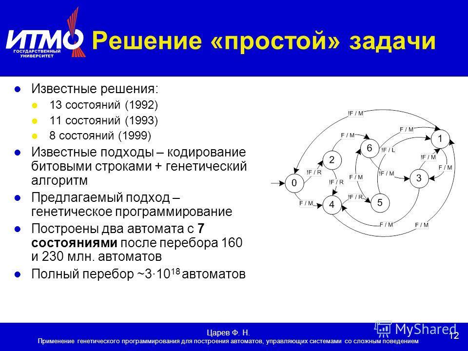12 Царев Ф. Н. Применение генетического программирования для построения автоматов, управляющих системами со сложным поведением Решение «простой» задачи Известные решения: 13 состояний (1992) 11 состояний (1993) 8 состояний (1999) Известные подходы –