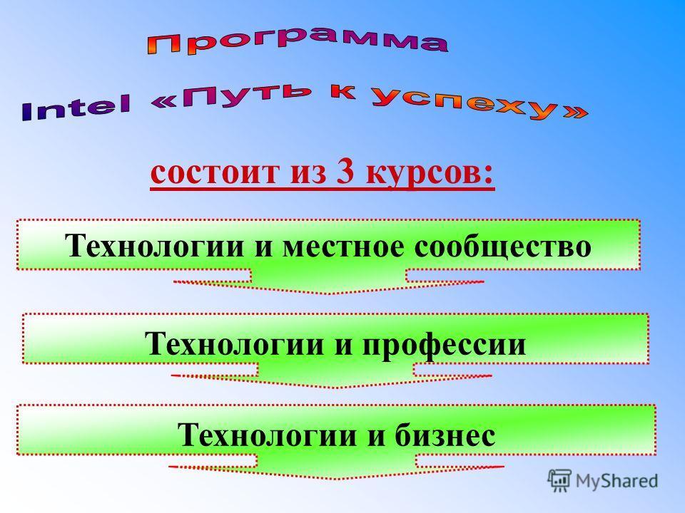 состоит из 3 курсов: Технологии и местное сообщество Технологии и профессии Технологии и бизнес