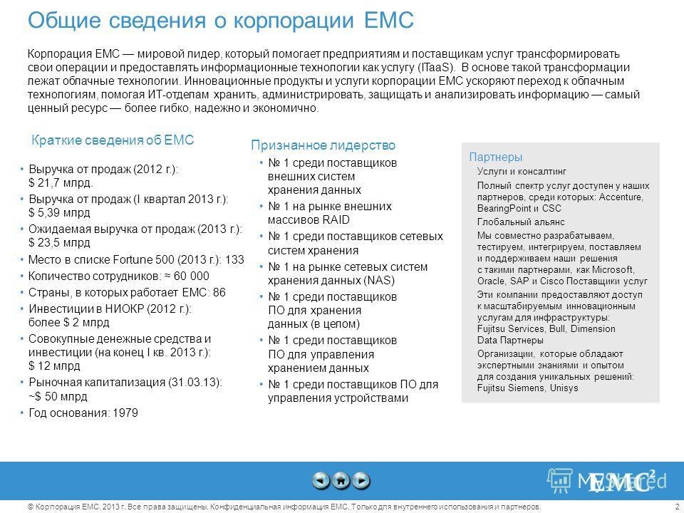 2© Корпорация EMC, 2013 г. Все права защищены. Конфиденциальная информация EMC. Только для внутреннего использования и партнеров. Партнеры Услуги и консалтинг Полный спектр услуг доступен у наших партнеров, среди которых: Accenture, BearingPoint и CS