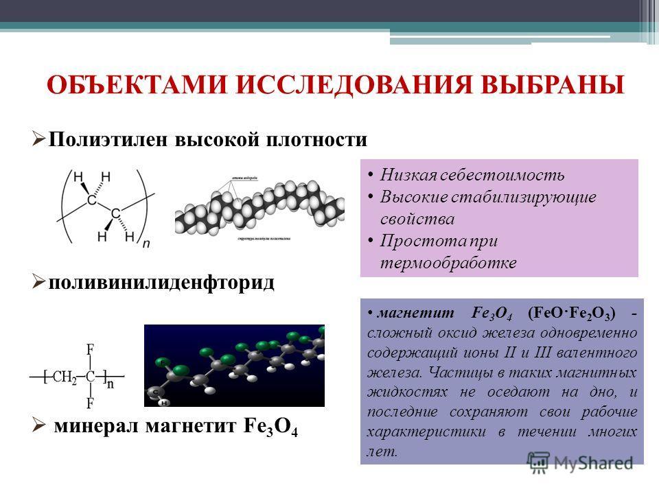 ОБЪЕКТАМИ ИССЛЕДОВАНИЯ ВЫБРАНЫ Полиэтилен высокой плотности поливинилиденфторид минерал магнетит Fe 3 O 4 Низкая себестоимость Высокие стабилизирующие свойства Простота при термообработке магнетит Fe 3 O 4 (FeO·Fe 2 O 3 ) - сложный оксид железа однов