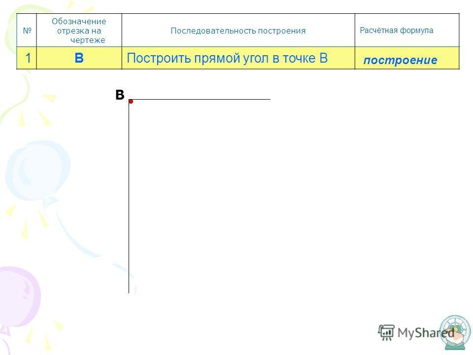 Обозначение отрезка на чертеже Последовательность построения Расчётная формула 1ВПостроить прямой угол в точке В построение В