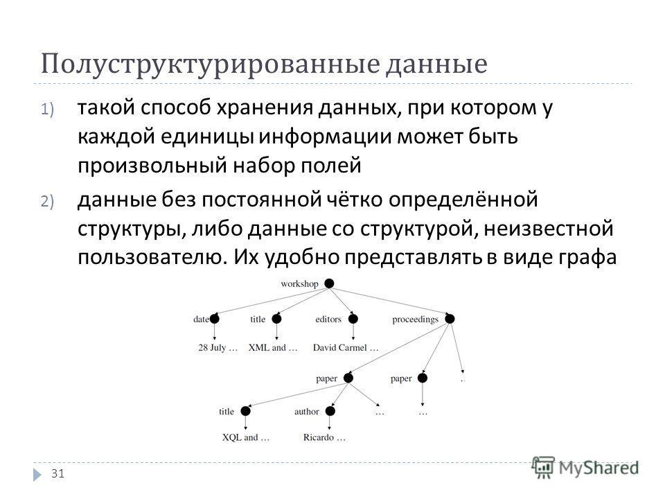 Полуструктурированные данные 1) такой способ хранения данных, при котором у каждой единицы информации может быть произвольный набор полей 2) данные без постоянной чётко определённой структуры, либо данные со структурой, неизвестной пользователю. Их у