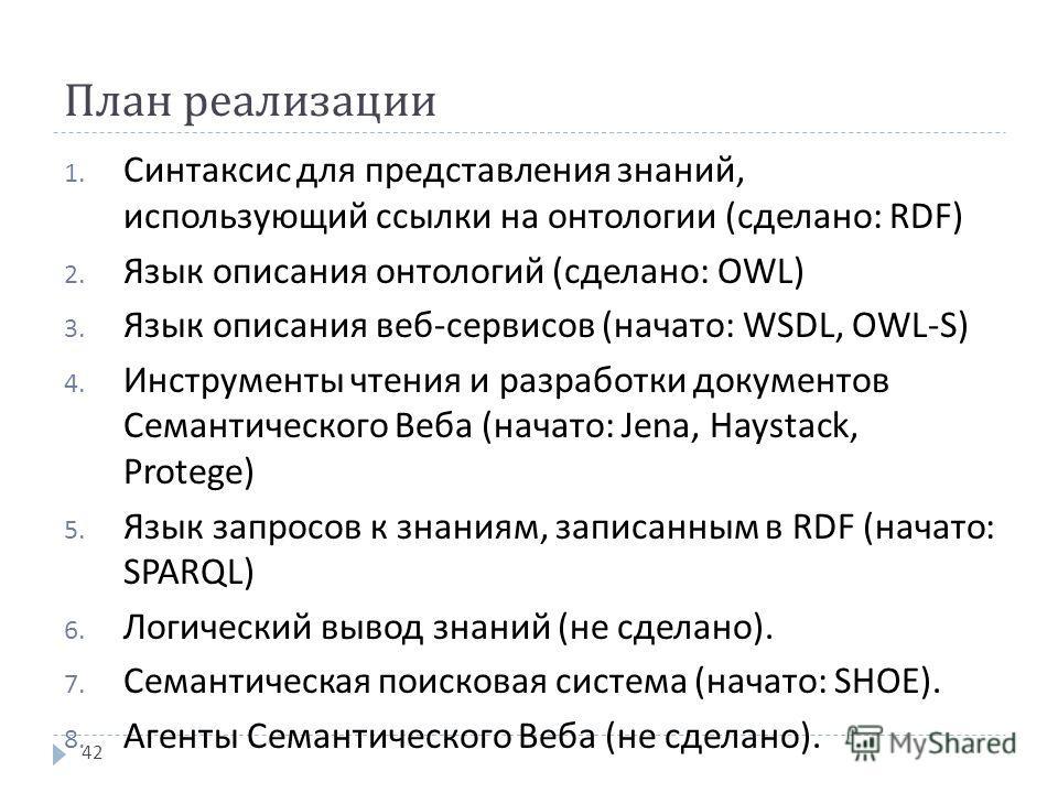 План реализации 1. Синтаксис для представления знаний, использующий ссылки на онтологии ( сделано : RDF) 2. Язык описания онтологий ( сделано : OWL) 3. Язык описания веб - сервисов ( начато : WSDL, OWL-S) 4. Инструменты чтения и разработки документов