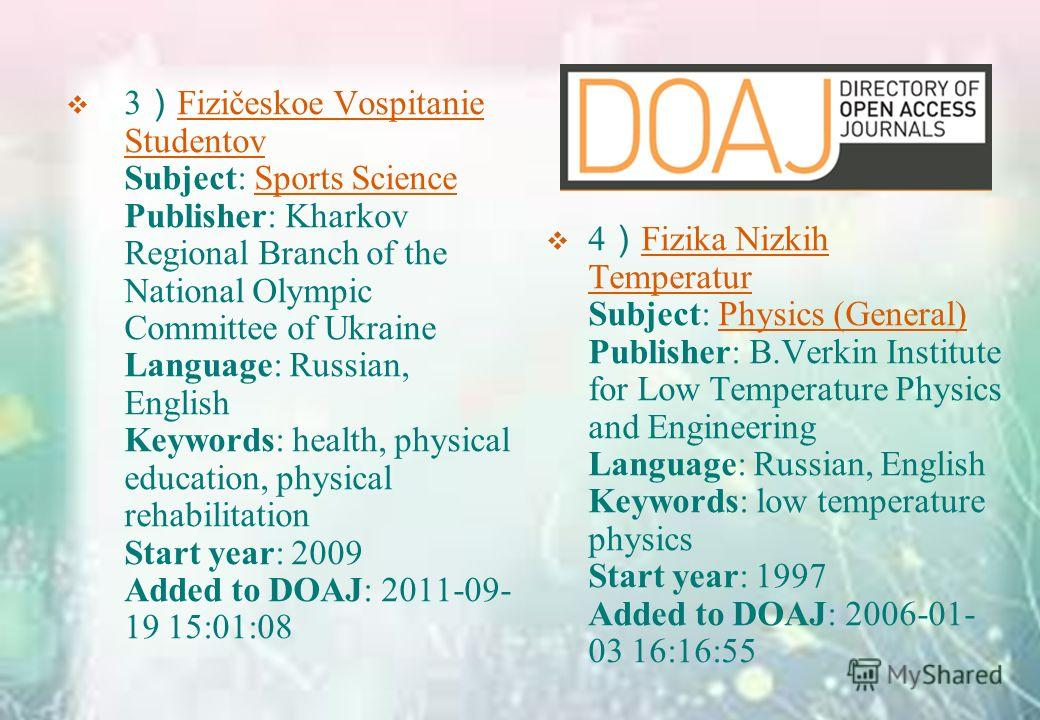 3 Fizičeskoe Vospitanie Studentov Subject: Sports Science Publisher: Kharkov Regional Branch of the National Olympic Committee of Ukraine Language: Russian, English Keywords: health, physical education, physical rehabilitation Start year: 2009 Added