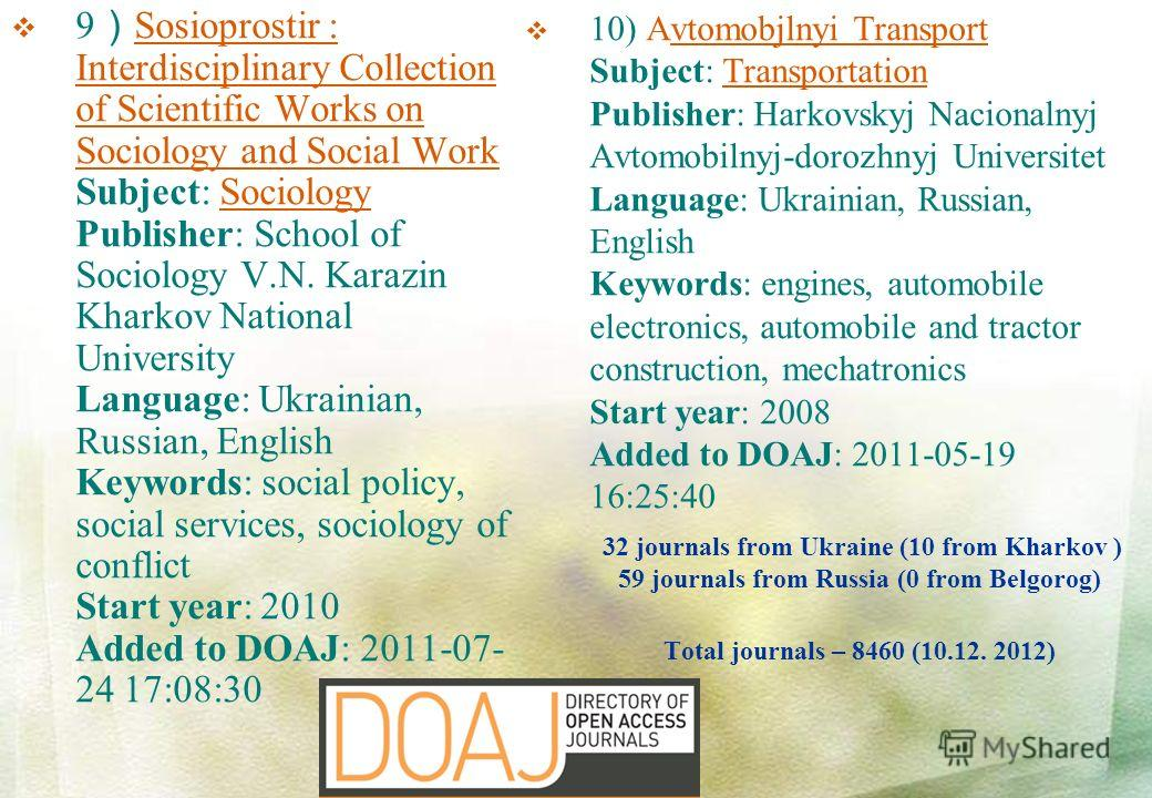 32 journals from Ukraine (10 from Kharkov ) 59 journals from Russia (0 from Belgorog) Total journals – 8460 (10.12. 2012) 9 Sosioprostir : Interdisciplinary Collection of Scientific Works on Sociology and Social Work Subject: Sociology Publisher: Sch