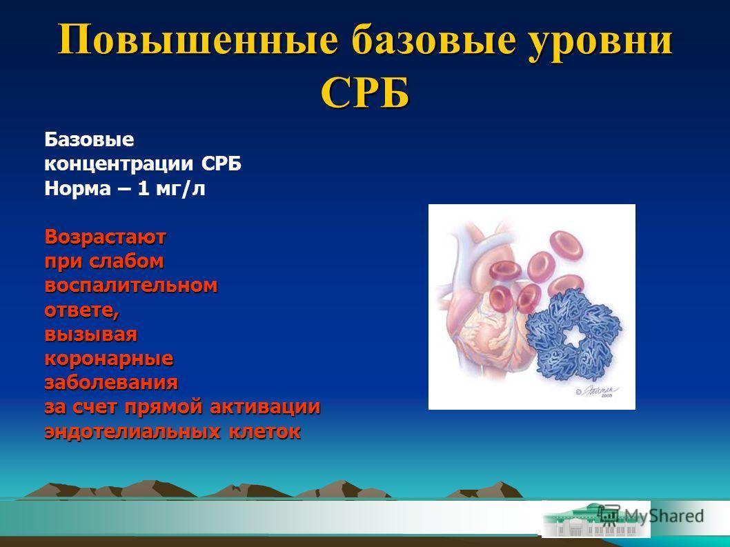 Повышенные базовые уровни СРБ Базовые концентрации СРБ Норма – 1 мг/лВозрастают при слабом воспалительномответе,вызываякоронарныезаболевания за счет прямой активации эндотелиальных клеток
