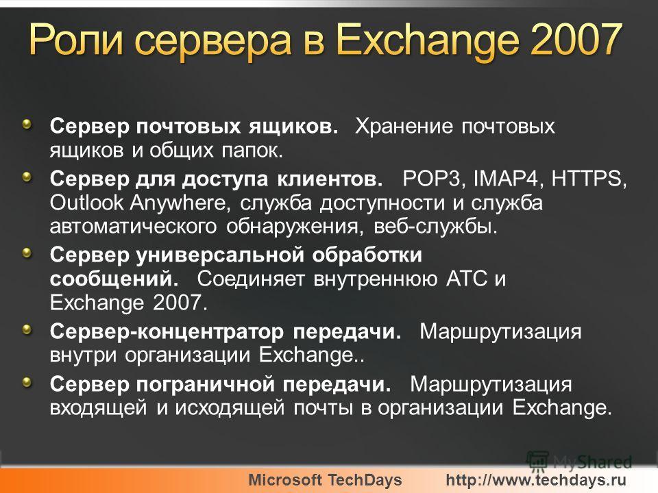 Microsoft TechDayshttp://www.techdays.ru Сервер почтовых ящиков. Хранение почтовых ящиков и общих папок. Сервер для доступа клиентов. POP3, IMAP4, HTTPS, Outlook Anywhere, служба доступности и служба автоматического обнаружения, веб-службы. Сервер ун