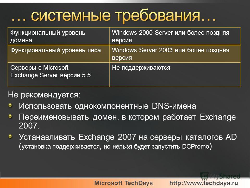 Microsoft TechDayshttp://www.techdays.ru Не рекомендуется: Использовать однокомпонентные DNS-имена Переименовывать домен, в котором работает Exchange 2007. Устанавливать Exchange 2007 на серверы каталогов AD ( установка поддерживается, но нельзя буде