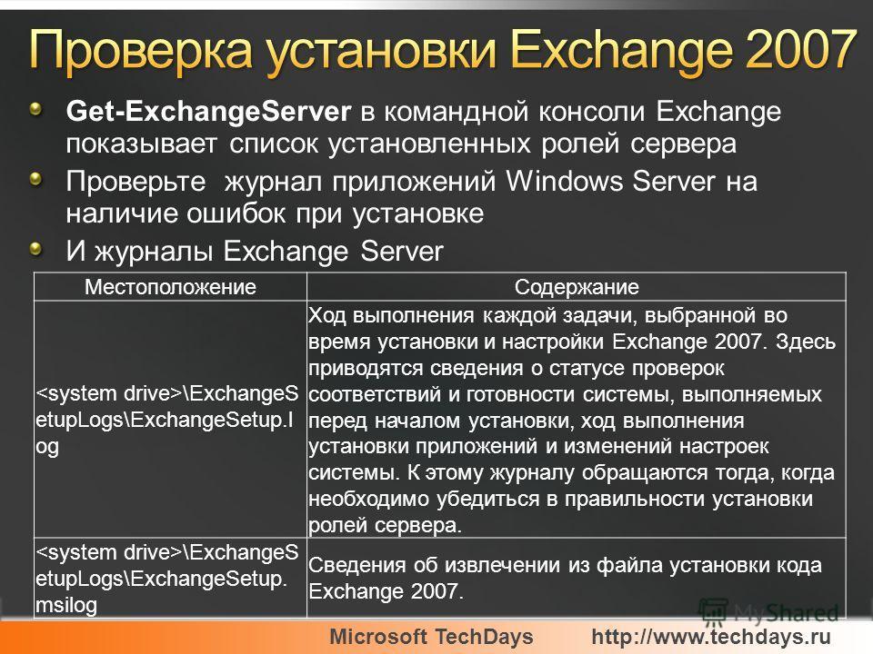 Microsoft TechDayshttp://www.techdays.ru Get-ExchangeServer в командной консоли Exchange показывает список установленных ролей сервера Проверьте журнал приложений Windows Server на наличие ошибок при установке И журналы Exchange Server Местоположение
