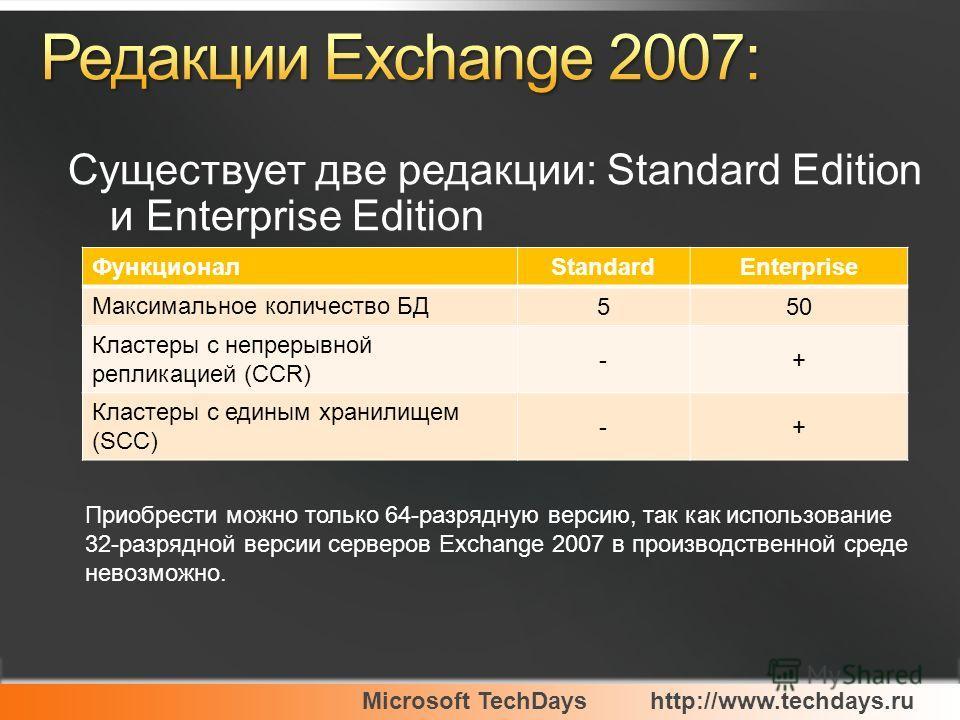 Существует две редакции: Standard Edition и Enterprise Edition ФункционалStandardEnterprise Максимальное количество БД 550 Кластеры с непрерывной репликацией (CCR) -+ Кластеры с единым хранилищем (SCC) -+ Приобрести можно только 64-разрядную версию,
