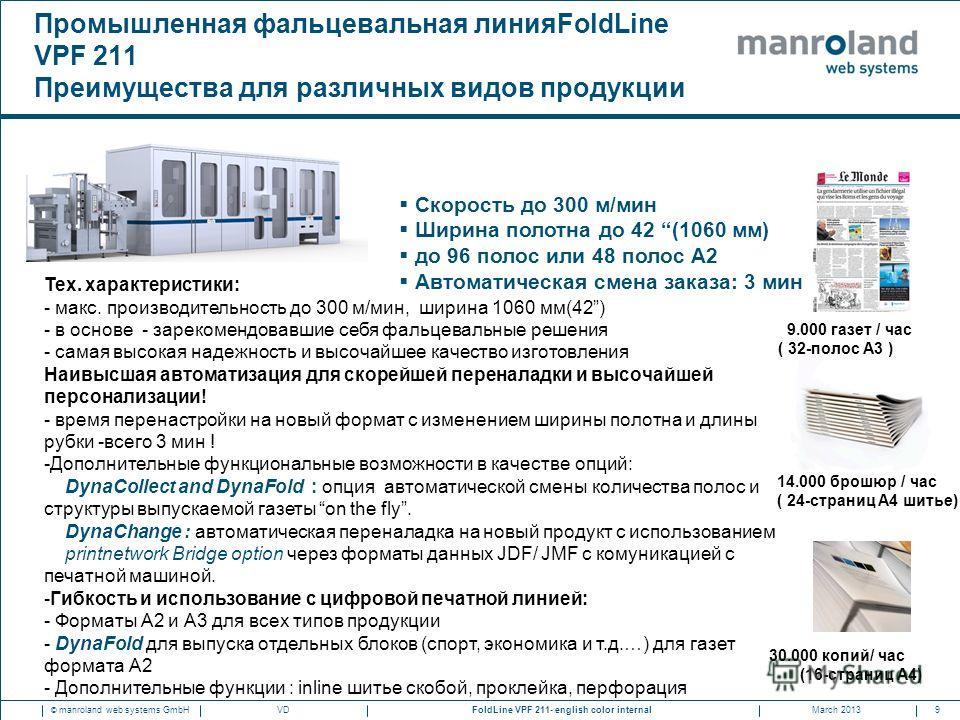 9FoldLine VPF 211- english color internal © manroland web systems GmbHMarch 2013VD Промышленная фальцевальная линияFoldLine VPF 211 Преимущества для различных видов продукции 9.000 газет / час ( 32-полос А3 ) 14.000 брошюр / час ( 24-страниц A4 шитье