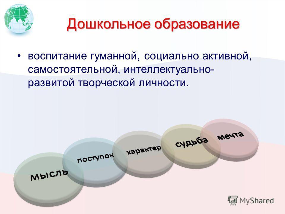 Дошкольное образование воспитание гуманной, социально активной, самостоятельной, интеллектуально- развитой творческой личности.