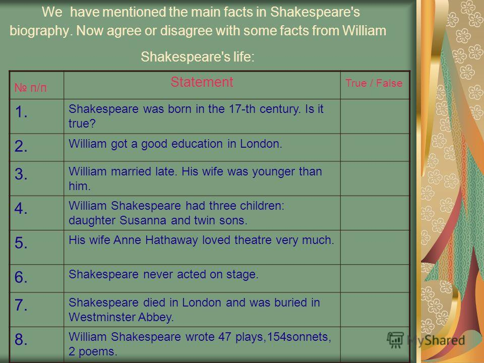 We have mentioned the main facts in Shakespeare's biography. Now agree or disagree with some facts from William Shakespeare's life: п/п п/п Statement True / False 1. Shakespeare was born in the 17-th century. Is it true? 2. William got a good educati