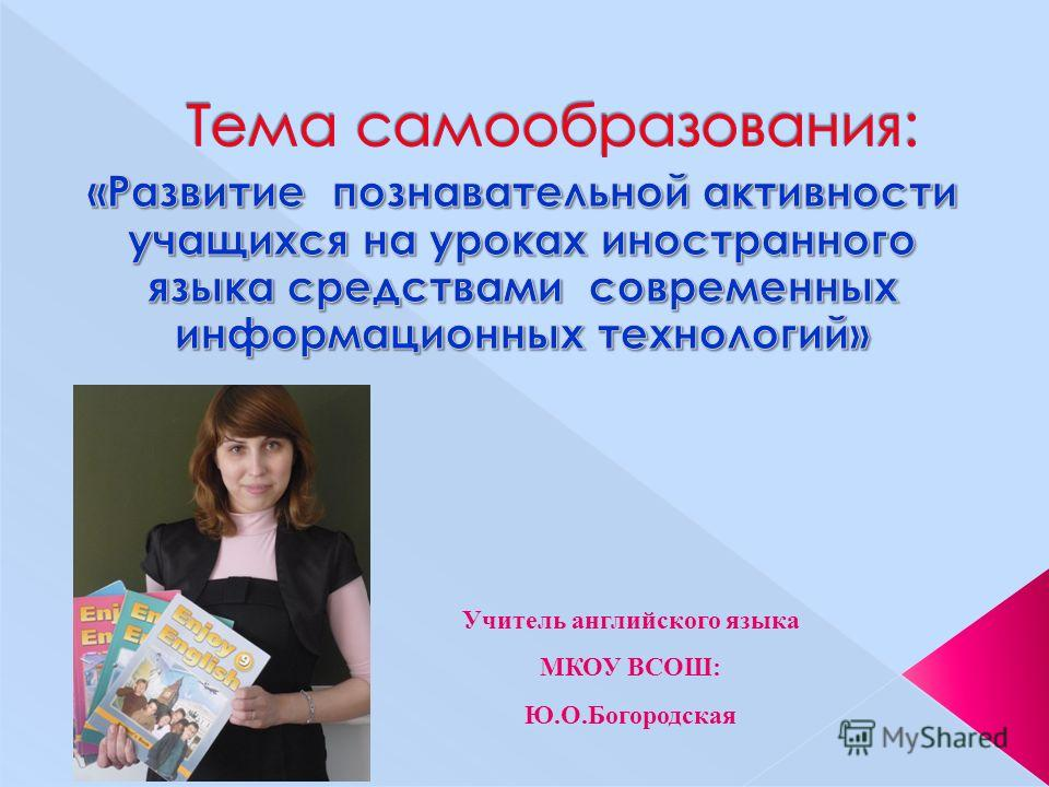 Учитель английского языка МКОУ ВСОШ: Ю.О.Богородская