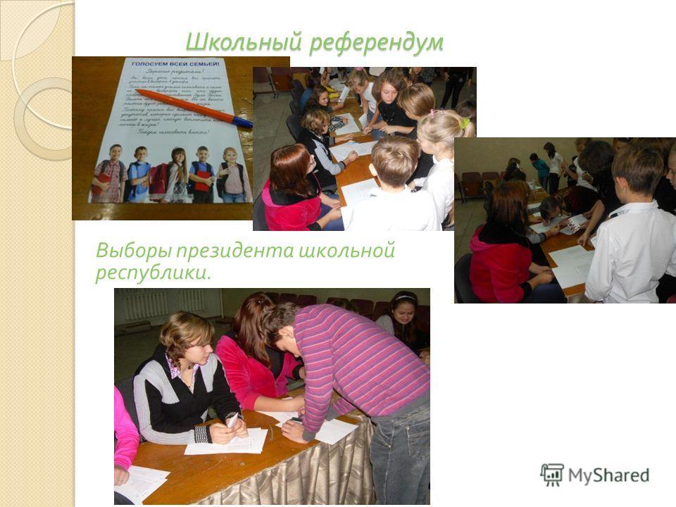 Школьный референдум Выборы президента школьной республики.