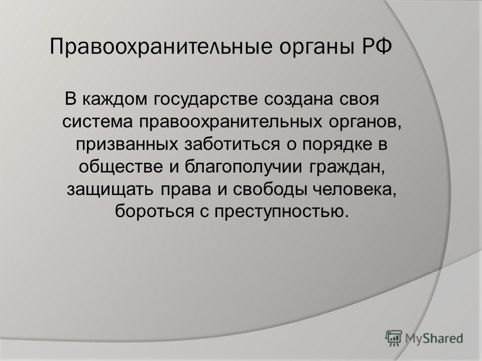 Правоохранительные органы РФ В