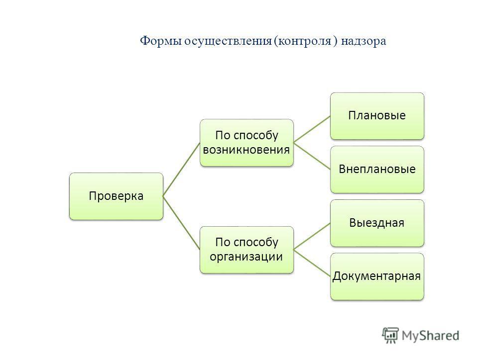 Формы осуществления (контроля ) надзора Проверка По способу возникновения ПлановыеВнеплановые По способу организации ВыезднаяДокументарная
