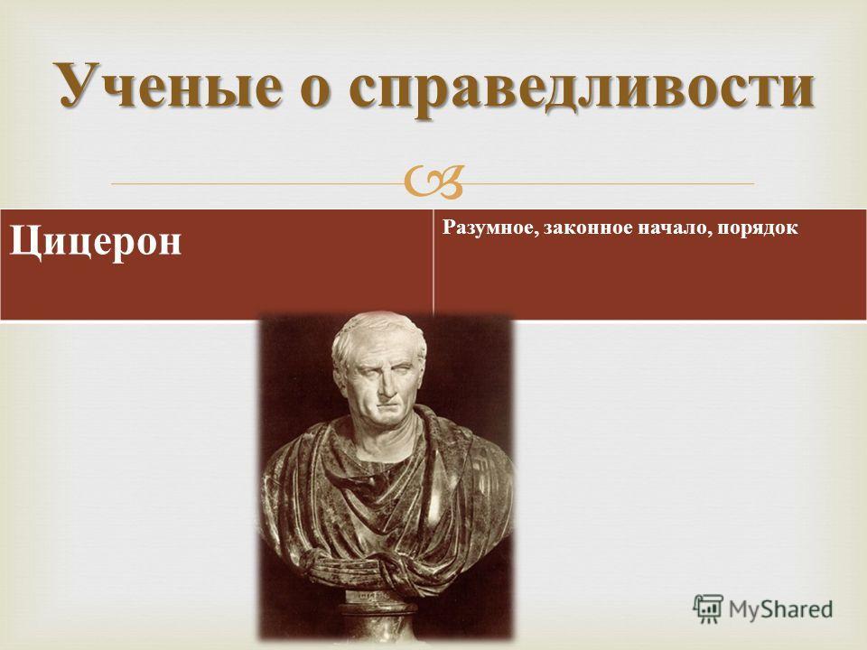 Ученые о справедливости Цицерон Разумное, законное начало, порядок
