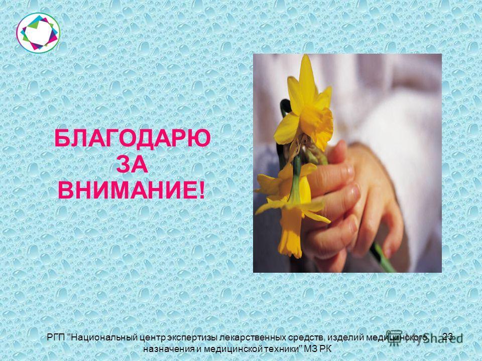 БЛАГОДАРЮ ЗА ВНИМАНИЕ! РГП Национальный центр экспертизы лекарственных средств, изделий медицинского назначения и медицинской техники МЗ РК 23
