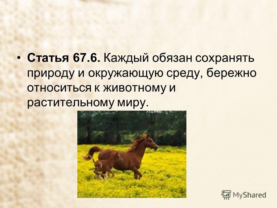 Статья 67.6. Каждый обязан сохранять природу и окружающую среду, бережно относиться к животному и растительному миру.