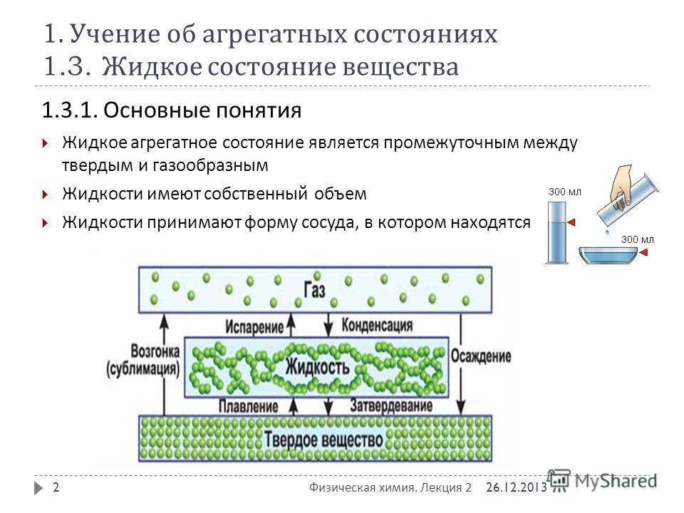 1. Учение об агрегатных состояниях 1.3. Жидкое состояние вещества 1.3.1. Основные понятия Жидкое агрегатное состояние является промежуточным между твердым и газообразным Жидкости имеют собственный объем Жидкости принимают форму сосуда, в котором нахо