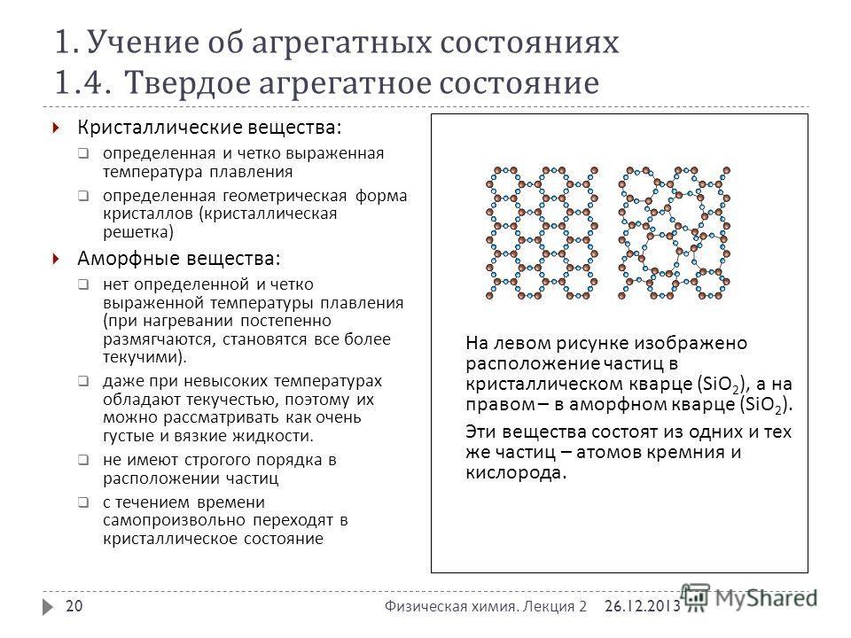 1. Учение об агрегатных состояниях 1.4. Твердое агрегатное состояние 26.12.2013 Физическая химия. Лекция 2 20 Кристаллические вещества : определенная и четко выраженная температура плавления определенная геометрическая форма кристаллов ( кристалличес