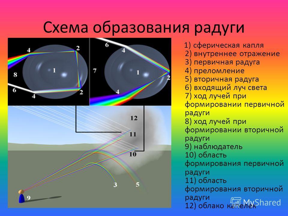 Схема образования радуги 1) сферическая капля 2) внутреннее отражение 3) первичная радуга 4) преломление 5) вторичная радуга 6) входящий луч света 7) ход лучей при формировании первичной радуги 8) ход лучей при формировании вторичной радуги 9) наблюд