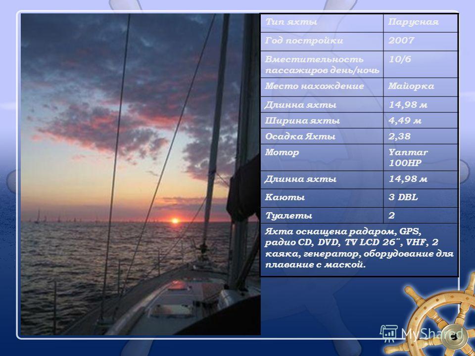Тип яхтыПарусная Год постройки2007 Вместительность пассажиров день/ночь 10/6 Место нахождениеМайорка Длинна яхты14,98 м Ширина яхты4,49 м Осадка Яхты2,38 МоторYanmar 100HP Длинна яхты14,98 м Каюты3 DBL Туалеты2 Яхта оснащена радаром, GPS, радио CD, D