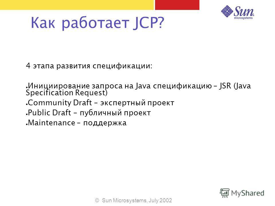 © Sun Microsystems, July 2002 Как работает JCP? 4 этапа развития спецификации: Инициирование запроса на Java спецификацию – JSR (Java Specification Request) Community Draft – экспертный проект Public Draft – публичный проект Maintenance – поддержка