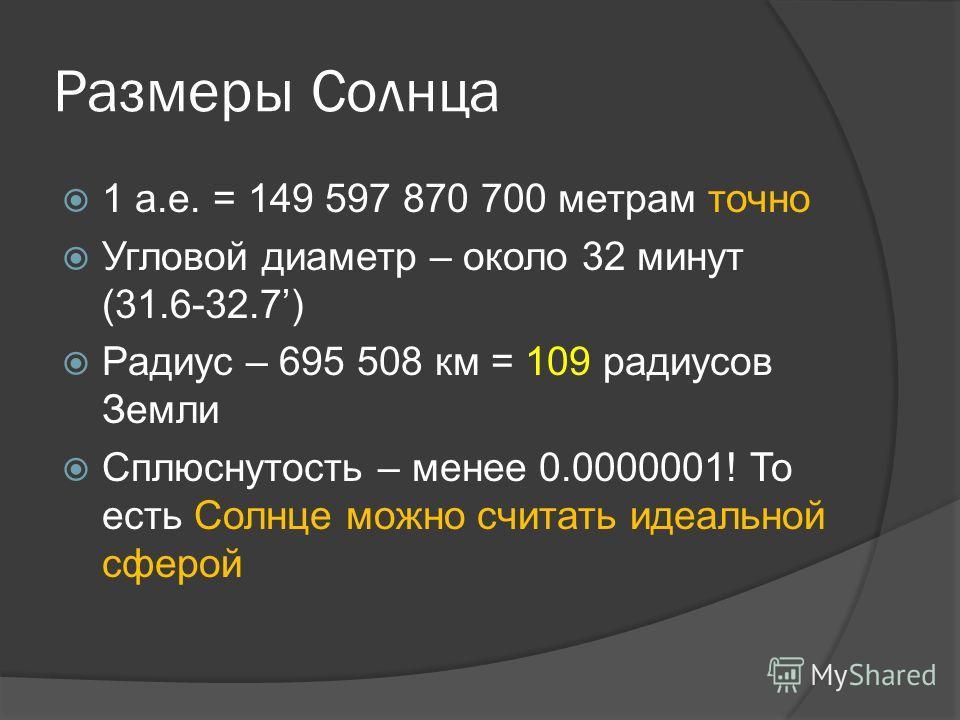 Размеры Солнца 1 а.е. = 149 597 870 700 метрам точно Угловой диаметр – около 32 минут (31.6-32.7) Радиус – 695 508 км = 109 радиусов Земли Сплюснутость – менее 0.0000001! То есть Солнце можно считать идеальной сферой
