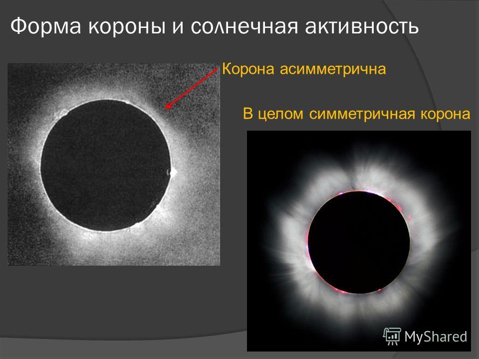 Форма короны и солнечная активность Корона асимметрична В целом симметричная корона