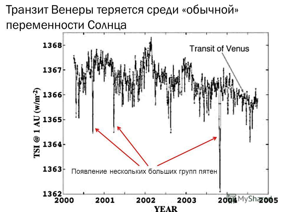 Транзит Венеры теряется среди «обычной» переменности Солнца Появление нескольких больших групп пятен