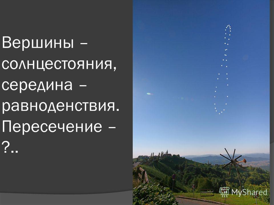 Вершины – солнцестояния, середина – равноденствия. Пересечение – ?..
