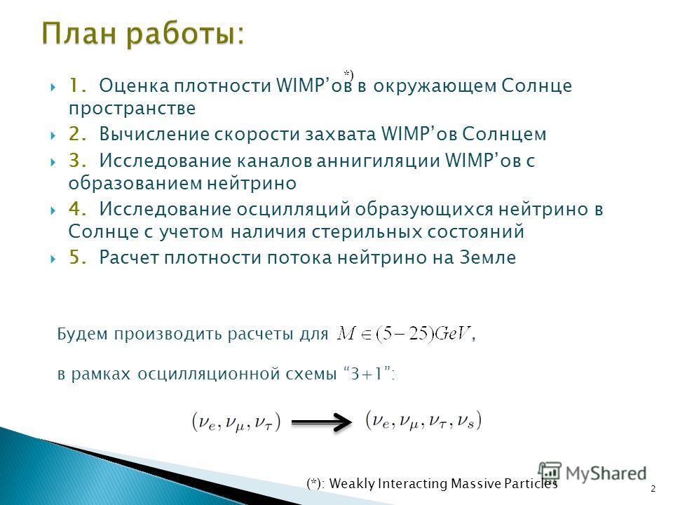 1. Оценка плотности WIMPов в окружающем Солнце пространстве 2. Вычисление скорости захвата WIMPов Солнцем 3. Исследование каналов аннигиляции WIMPов с образованием нейтрино 4. Исследование осцилляций образующихся нейтрино в Солнце с учетом наличия ст